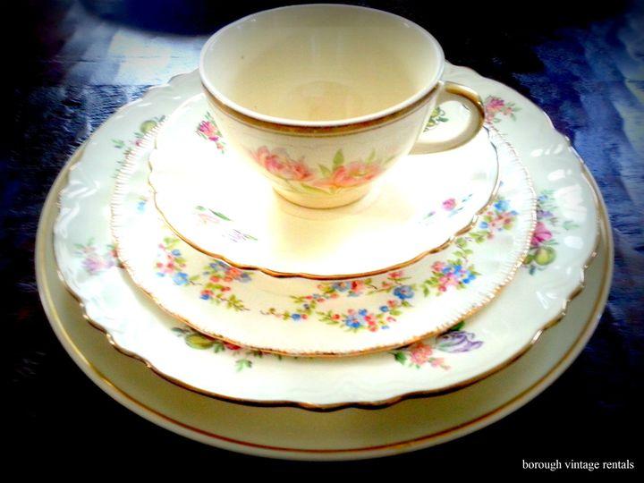 vintage china rentals cream floral