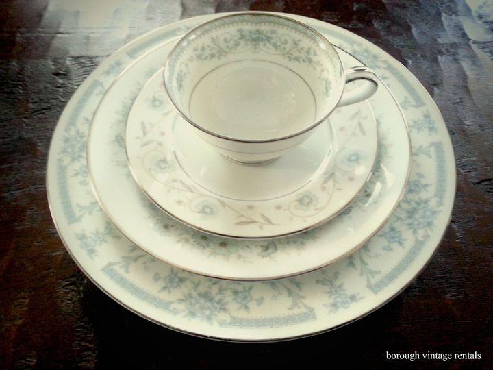 vintage china rentals elegant blue