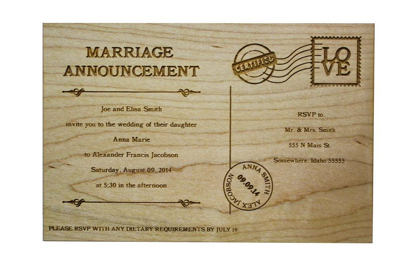Custom Laser engraved wood or acrylic wedding announcements, menus, save the dates