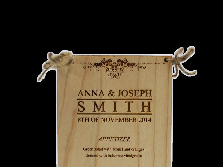 Tmx 1424455423445 Wood3centerpiecemenu Anderson, Indiana wedding favor