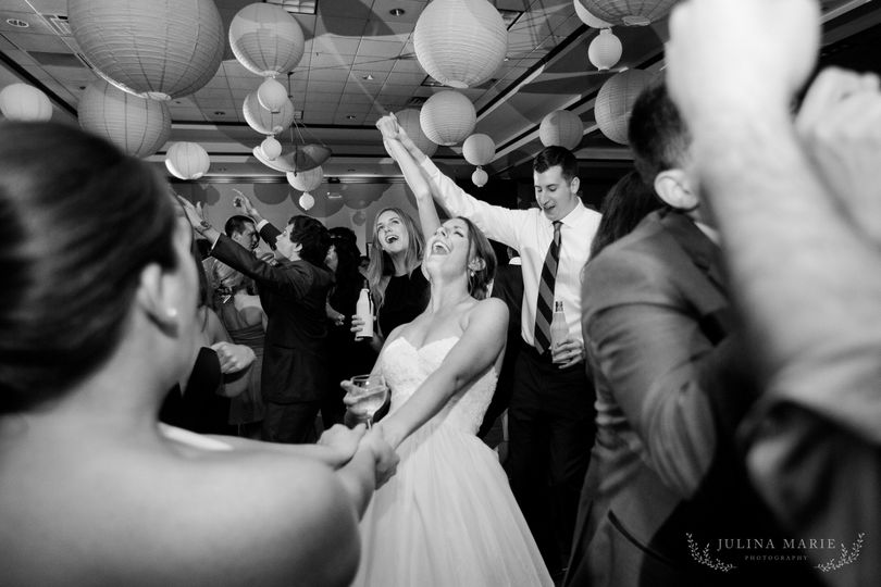 The couple and their guests dancing