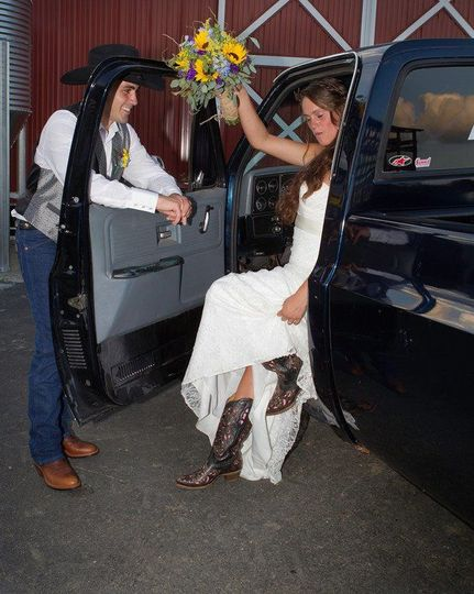 Bride getting out of the truck