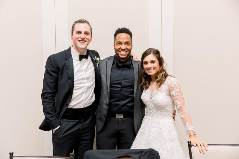 Celebrant Leeroy with newlyweds