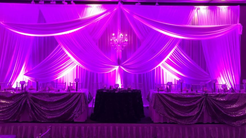 Purpling uplighting at reception