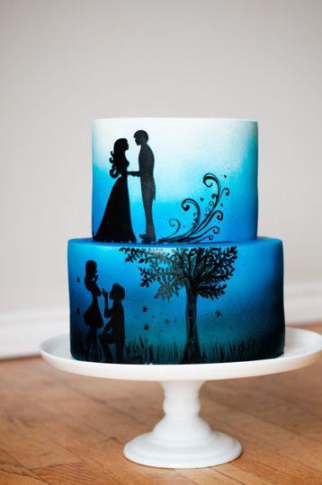 Two tier blue wedding cake