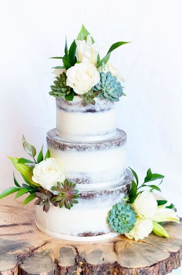 Three tier wedding cake with succulents