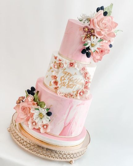 Pink marble with sugar flowers