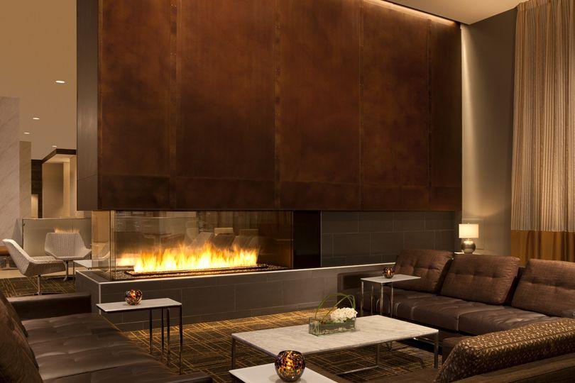 Cozy lobby fireplace