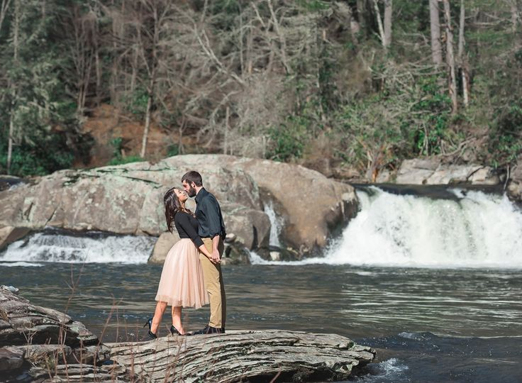 Couple with waterfall