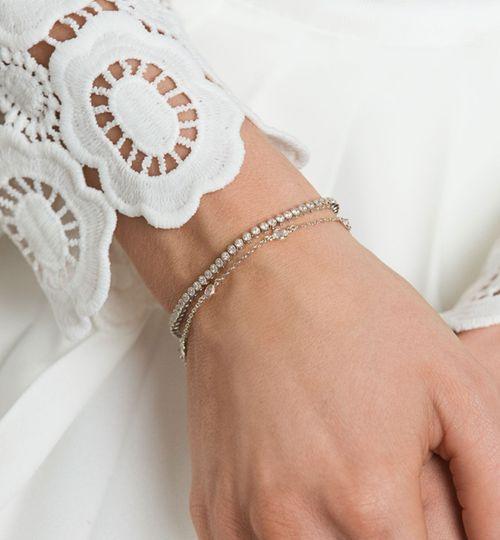 Petite Tennis & CZ Chain Bracelet Set