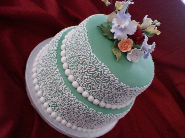 2 Tier Green & White Cake
