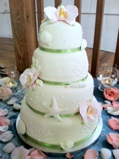 Moth Sea Shell Wedding Cake