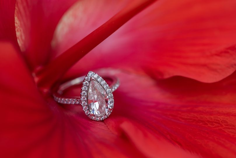 Engagement ring on a flower