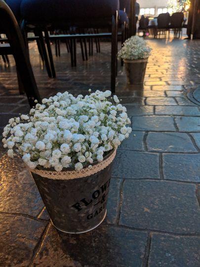Floral arrangements outside