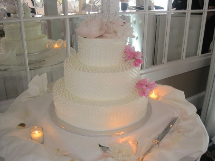 Tmx 1459908509017 All White Dots With Fresh Flowers Belmar, New Jersey wedding cake