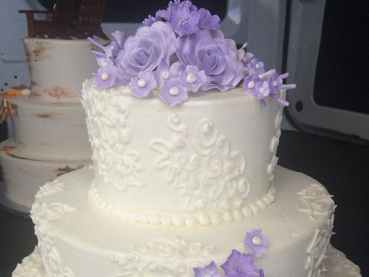 Tmx 1459908559408 Hand Piped Lace And Purple Sugar Flowers Belmar, New Jersey wedding cake