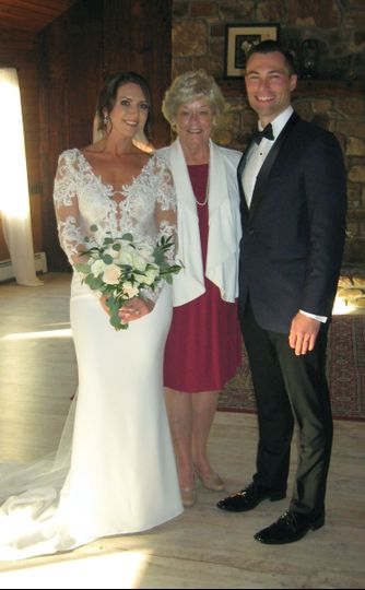 Officiant and the bride and groom
