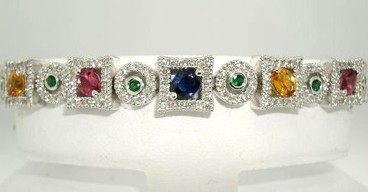 14kt White Gold Multi Colored 100% Natural Saphires & Diamond Bracelet.