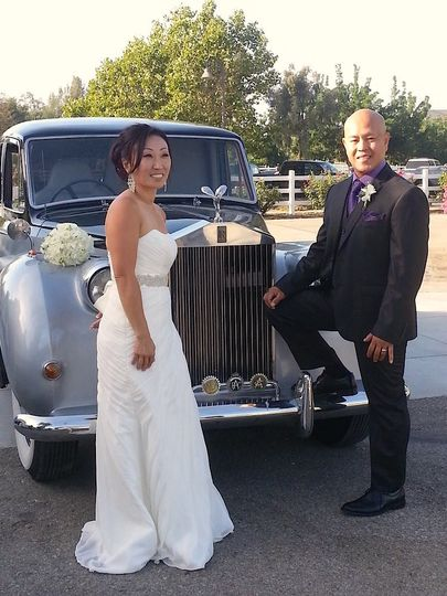 In front of the limo