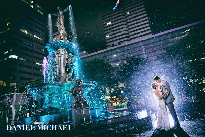Fountain Square Wedding Photo
