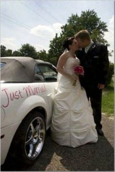 What a gorgeous way to personalize your wedding get away car with a gorgeous expression letting...