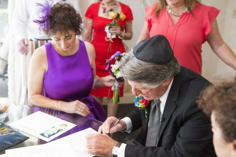 Signing at the wedding