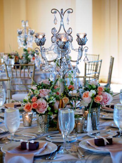 Silver wedding table arrangements