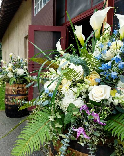 Leafy flower arrangements
