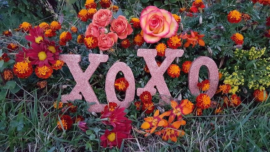 XOXO lettering decoration surrounded by flowers