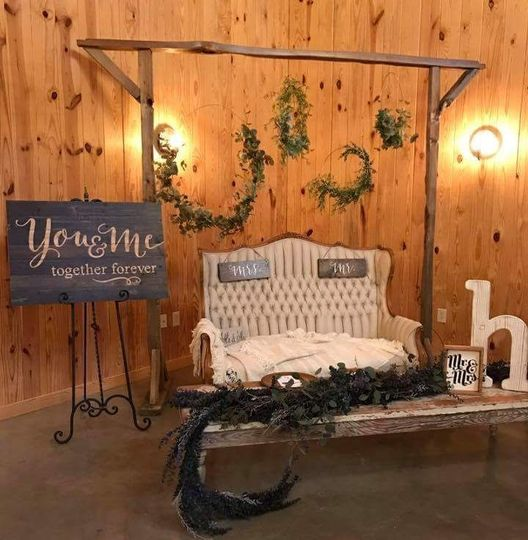 Split rail arch with floral hoops as accents