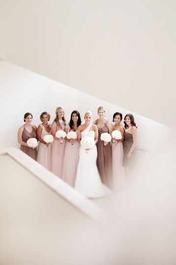 The bride with bridesmaids