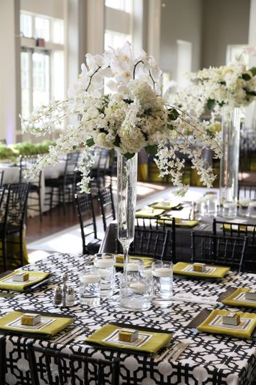 Dining table with centerpiece