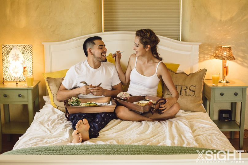 Couple's breakfast in bed