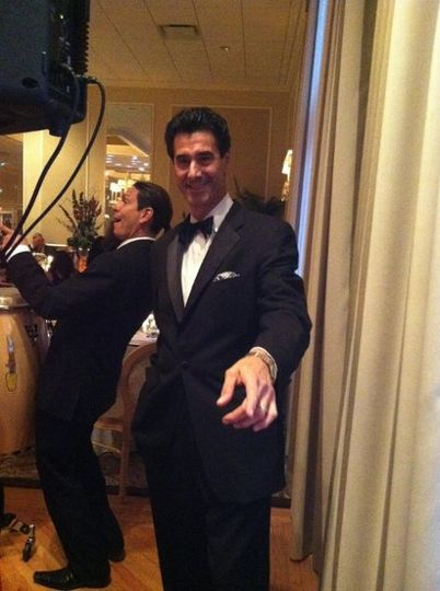 Behind the scenes with Stan Gilbert ( our Sinatra stylist ) and Nerio on percussion