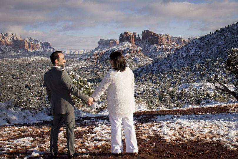 Sedona snow wedding