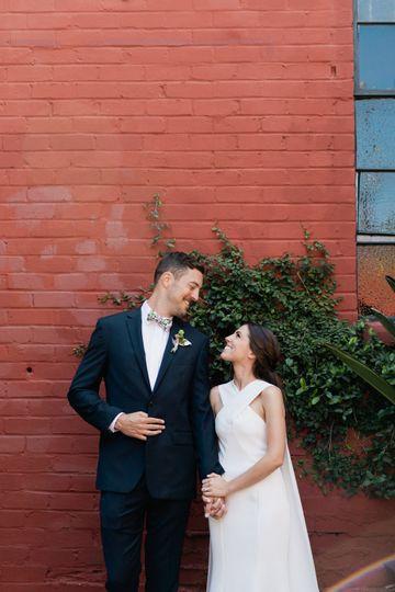 Modern wedding groom and bride