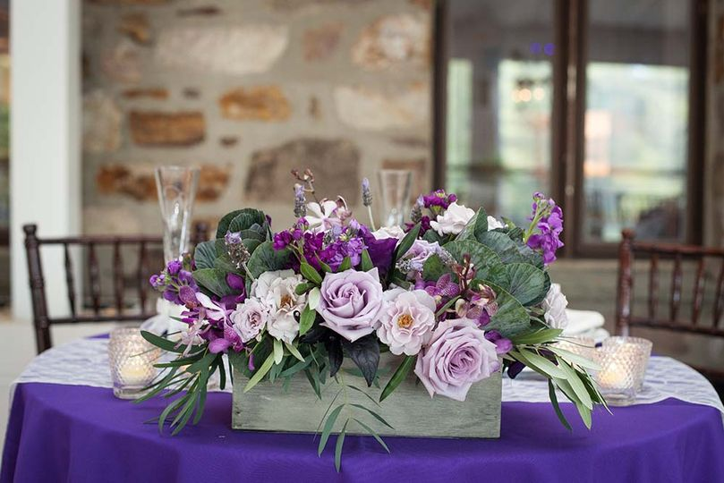 Purple flowers and table decor