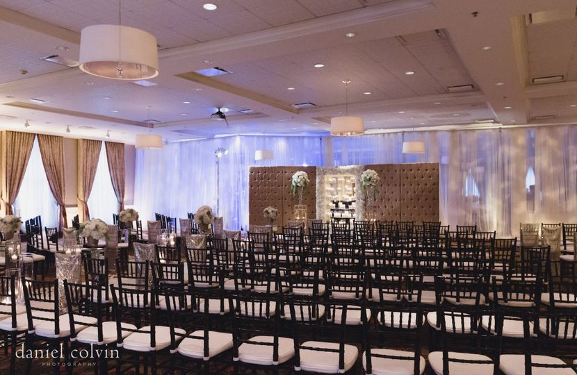 The Tremont Ballroom set for a large wedding ceremony. Photo by Daniel Colvin Photography.