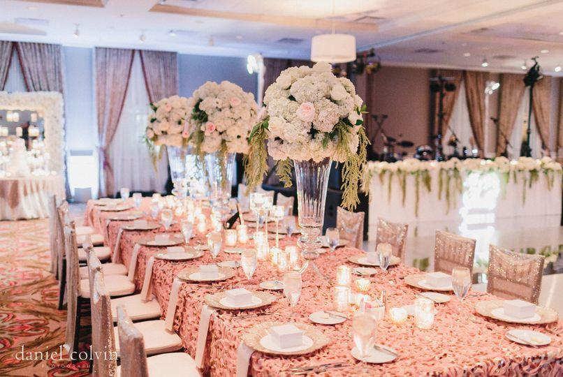 The Tremont Ballroom transformed for an elegant wedding reception. Photo by Daniel Colvin...