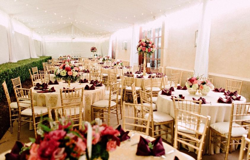 Wine & gold reception seating