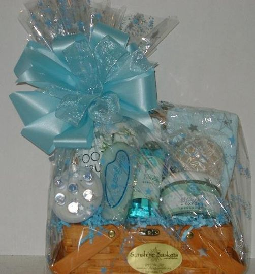 Blue themed spa basket