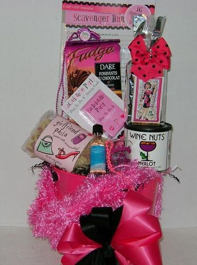 Bachelorette party fun gift basket with games, snacks & more