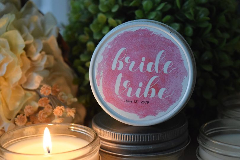Bride Tribe, Pink Watercolor Soy Candle Favor, $4.95 each. Our all-natural, dye-free soy candles are...