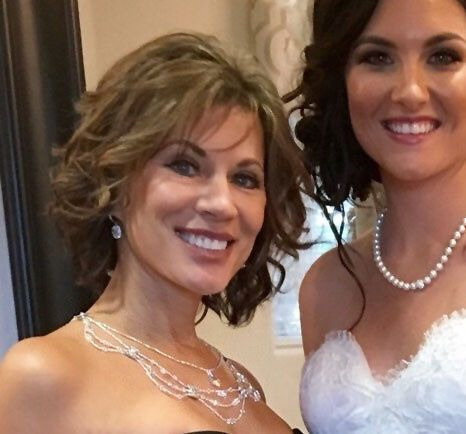 Mother of the bride wearing my necklace of Swarovski crystal and silver Czech glass