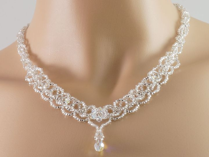 Tmx 1461857555435 Swarovski Crystal Silver Czech Glass Beaded Teardr Danbury wedding jewelry