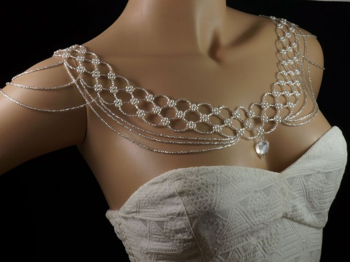 Tmx 1462663498147 Shoulder Necklace Silver Czech Glass 1 Danbury wedding jewelry