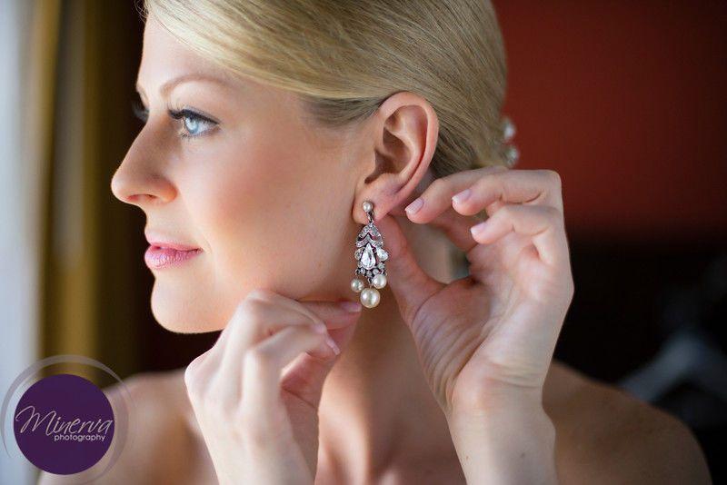 Bride wearing her earring