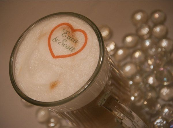 Custom Beverage Topper on a cappuccino by Espresso Dave's Specialty Coffee Catering 888-221-9029