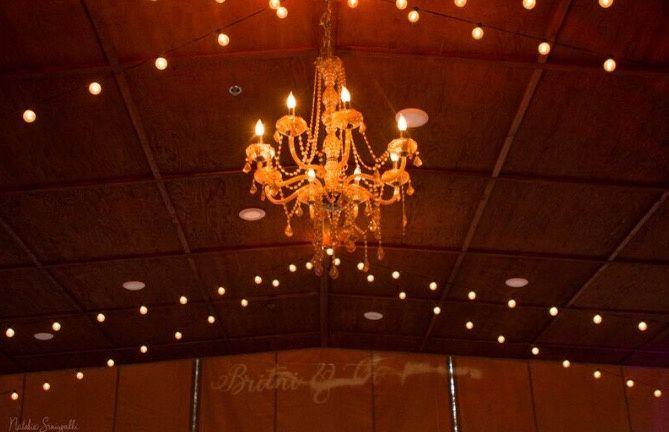 Chandelier and Bistro lights