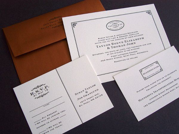 Tmx 1258676862553 Letterpress.train.wedding.invitation Minneapolis wedding invitation